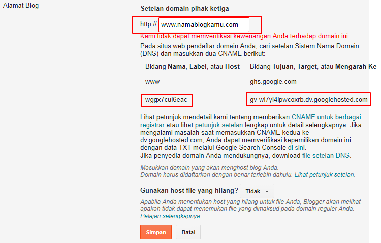 Custom Domain Blogspot