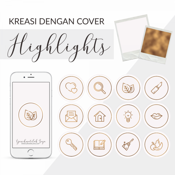 Cover Highlight Instagram - Pink & Gold Yanikmatilah Saja