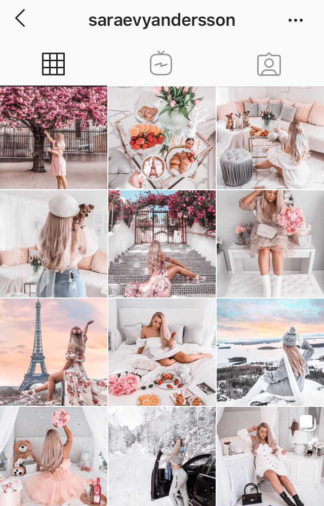 Feed Instagram @saraevyandersson